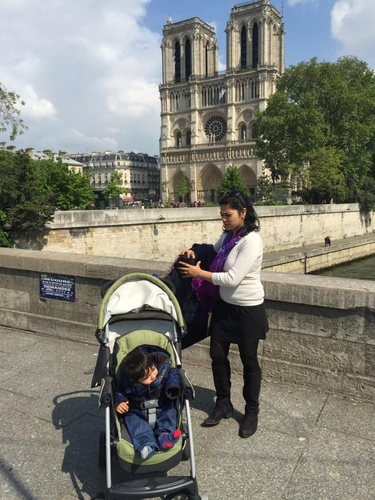 Baby and Mum Outside Notre Dame