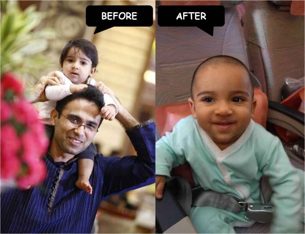 Before and After my Mundan