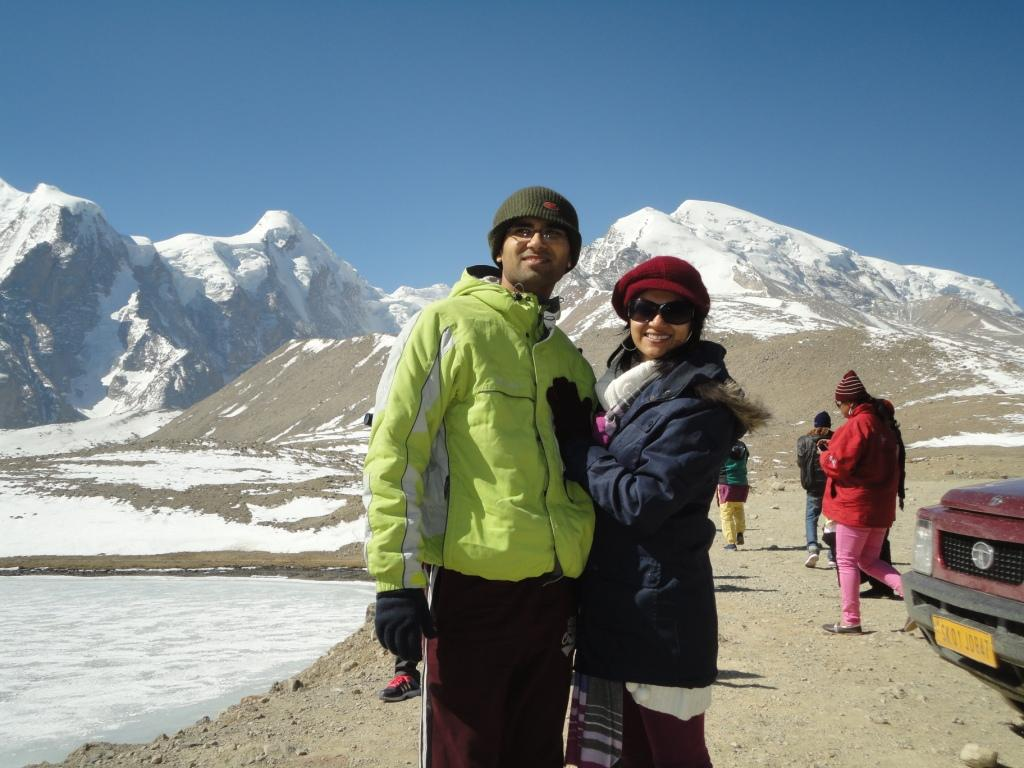 At the glacier of Gurudongmar Lake North Sikkim