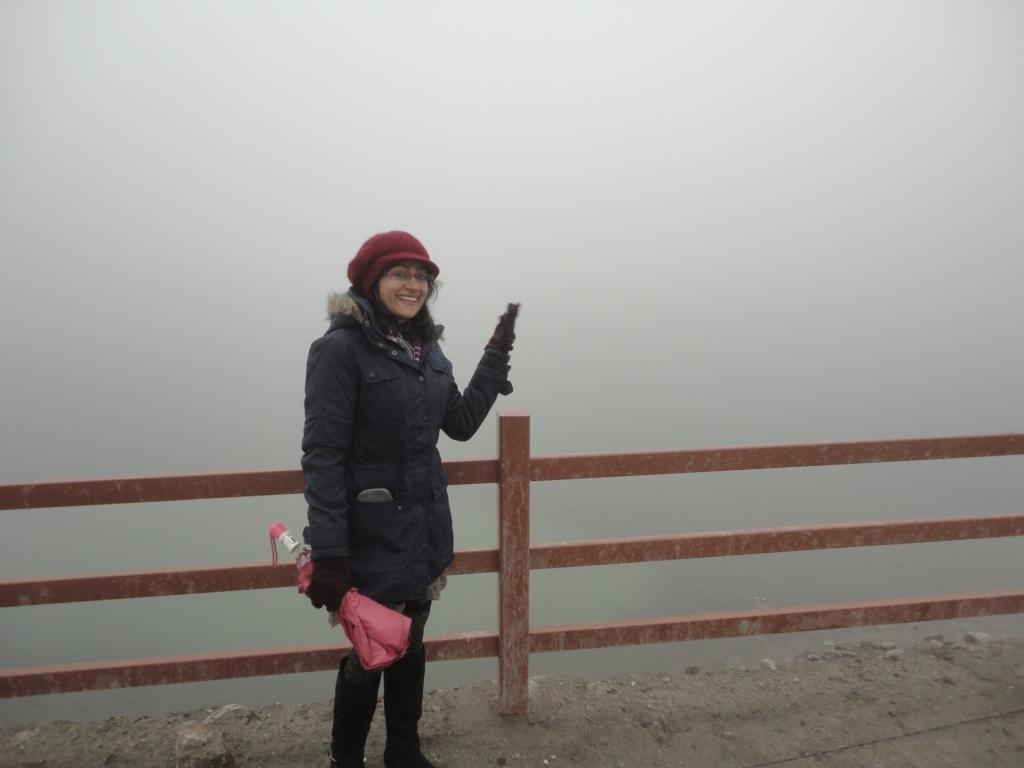 Unable to see a thing at Tsomgo Lake on account of the mist